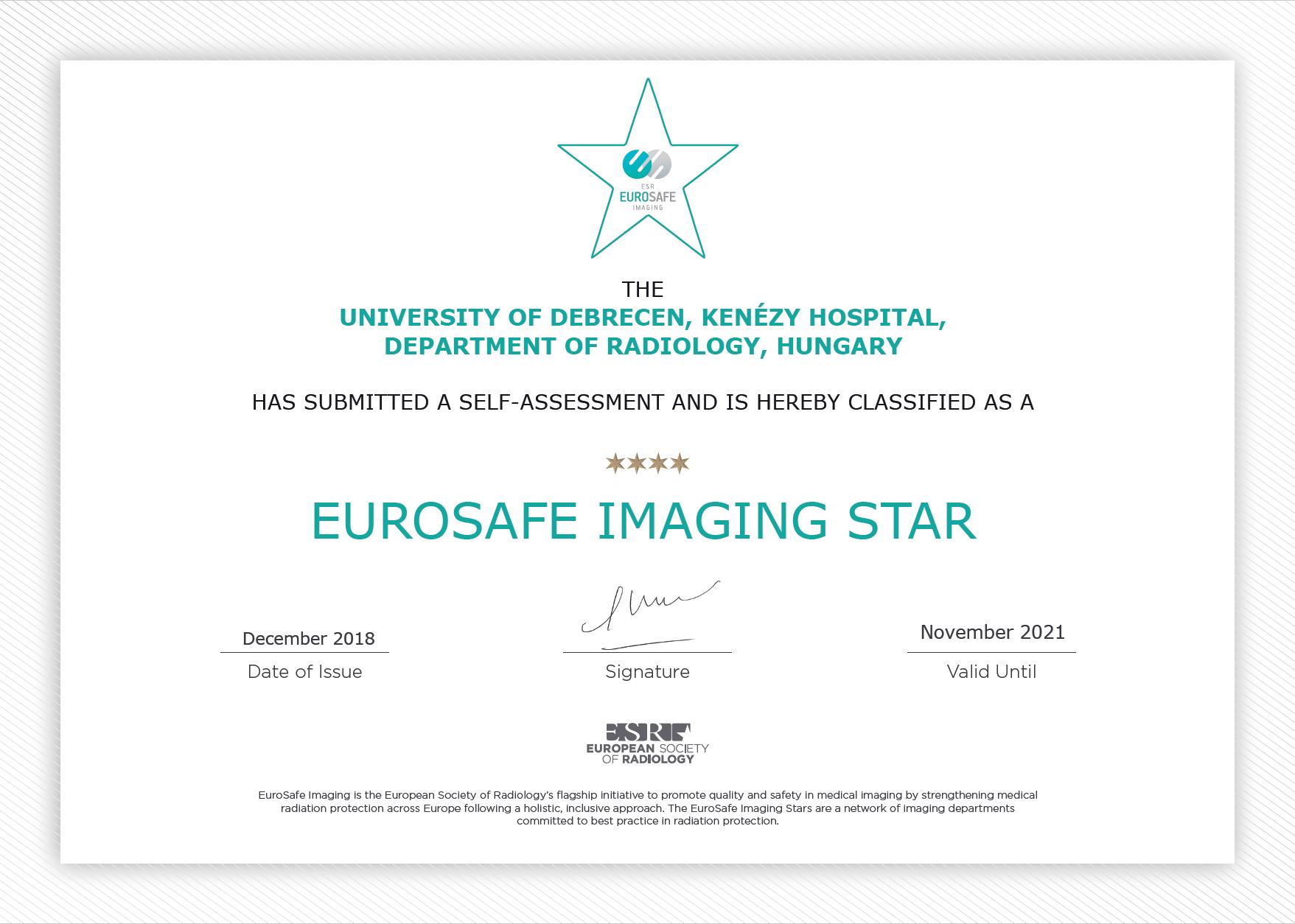 Csillagokkal értékelt biztonság a radiológián
